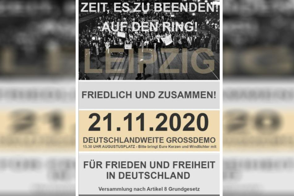 Mit Flyern wie diesem wird aktuell in Telegram-Gruppen zu der Demo aufgerufen.