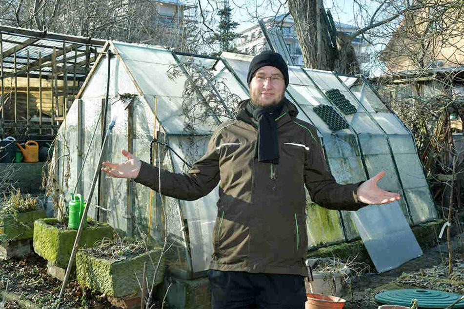 Herausforderer Volker Croy (36) aus Heidenau will Dresdens neuer Gartenchef werden.