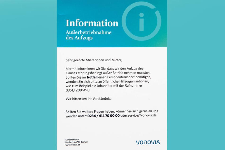 """Für den """"Notfall"""" verwies Vermieter Vonovia auf öffentliche  Hilfsorganisationen wie die Johanniter."""