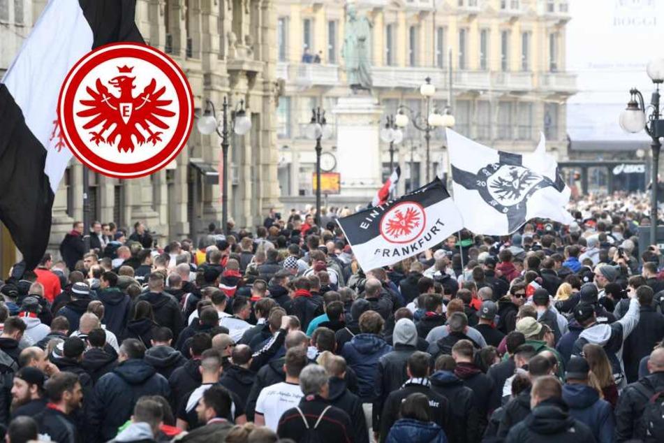 """""""Die Hesse komme"""": 15.000 Eintracht-Fans feiern Mega-Party in Mailand!"""