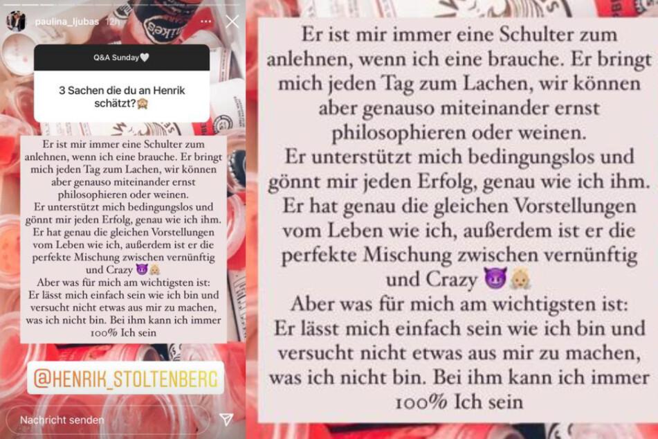 In einer Instagram-Fragerunde machte Schauspielerin Paulina Ljubas (23) deutlich, warum sie Henrik Stoltenberg (24) eine Chance geben möchte.