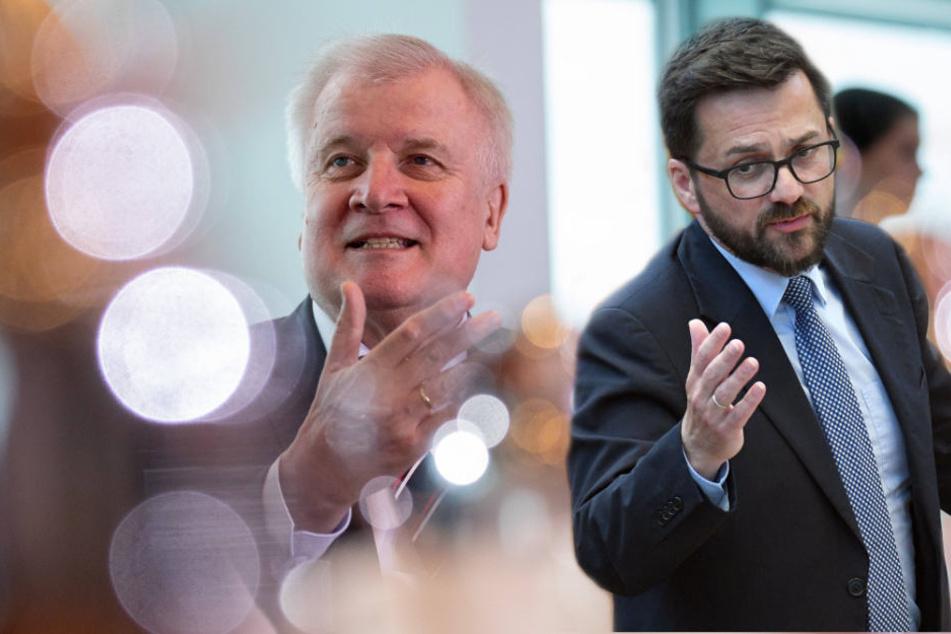 Mit deutlichen Worten hat SPD-Fraktionschef (r) den Rücktritt von Horst Seehofer (l) gefordert.