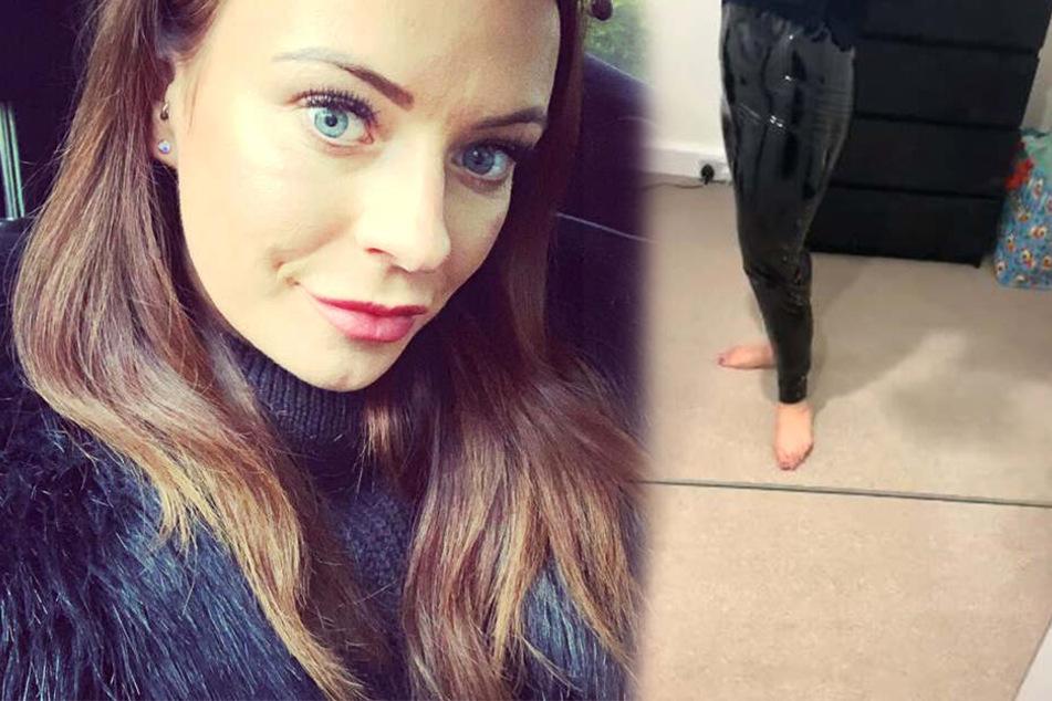 Frau kauft schwarze Hose und fühlt sich an Klebestreifen erinnert