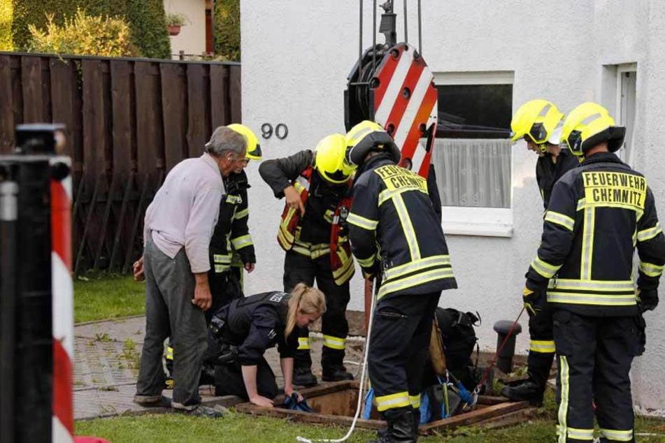 Die Chemnitzer Feuerwehr musste am Sonntag eine Kuh aus einer Klärgrube befreien.