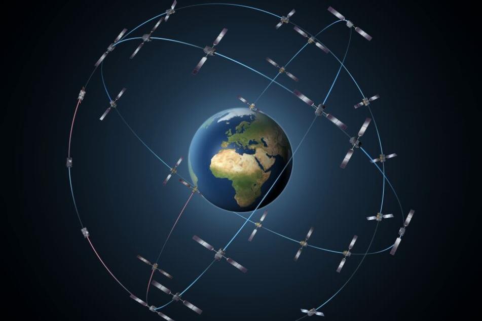Die Illustration der europäischen Raumfahrtbehörde ESA (European Space Agency) zeigt die gesamte, aus 30 Satelliten bestehende, Galileo-Konstellation.