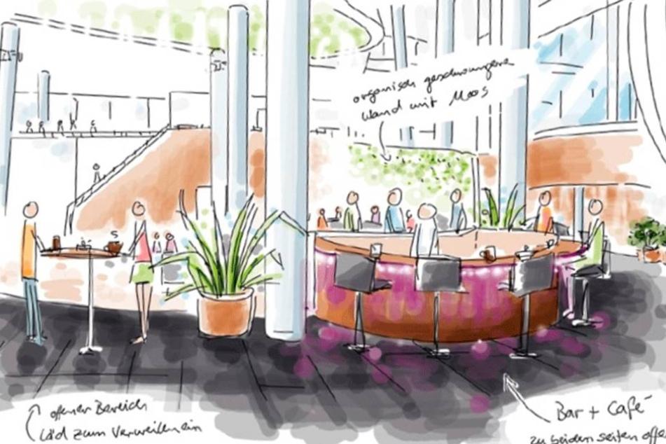 So stellt sich Mario Pattis sein neues Reich vor: mit Café und Bar vorm Restaurant, alles offen, hell und modern.