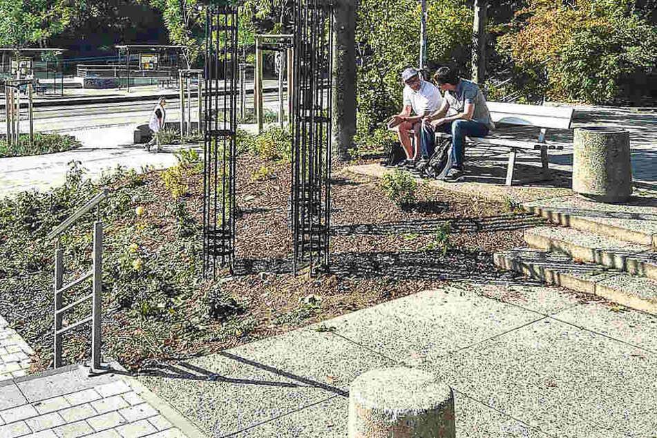 Der Merianplatz in Gorbitz wurde komplett saniert. Eine einzige Ecke lebt noch  den alten DDR-Charme.