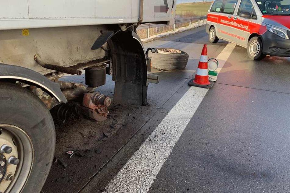 Der Reifen des Lkw löste sich plötzlich.