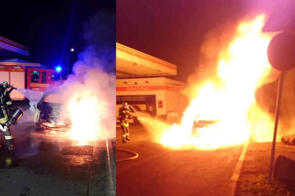 Meterhoch schlugen die Flammen direkt neben der Tankstelle in den Himmel.