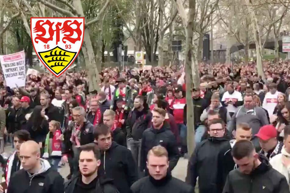 Für die Mannschaft und gegen Präsident Dietrich: VfB-Fans vor Abstiegskrimi gegen Nürnberg