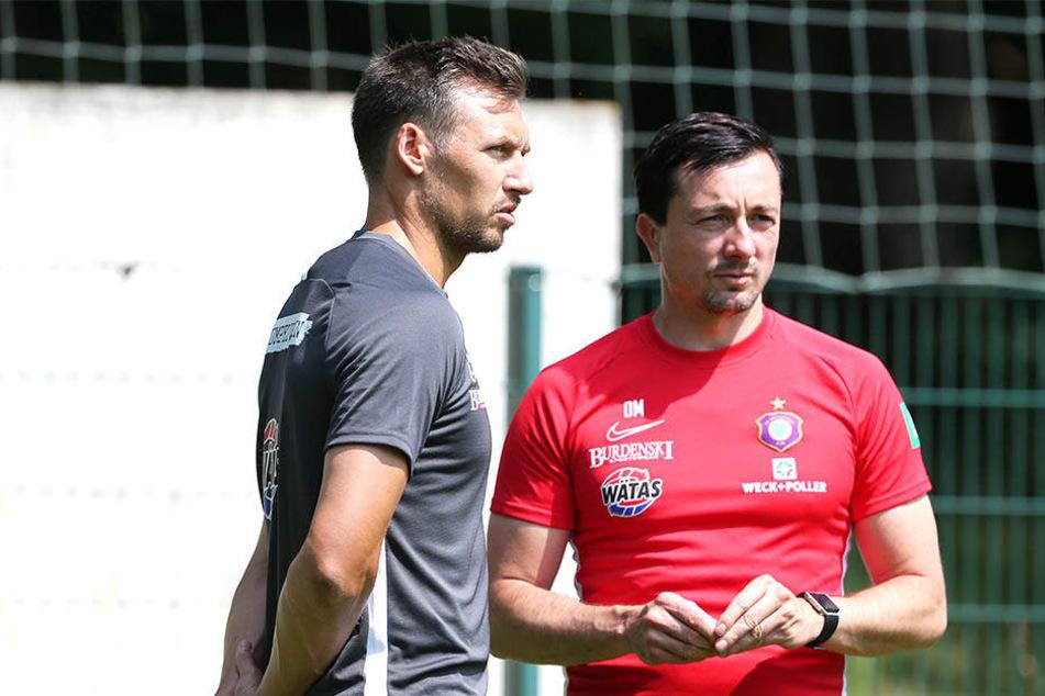 Sören Gonther und sein neuer Trainer Daniel Meyer.
