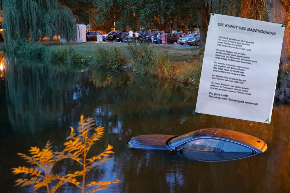 Chemnitz: Kunstprojekt im Schlossteich spaltet Chemnitzer: Anonymes Gedicht aufgetaucht
