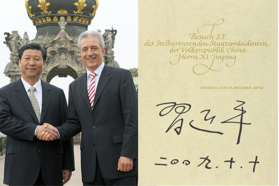 """MP Stanislaw Tillich 2009 mit Chinas Xi Jinping, damals """"nur"""" stellvertretender Präsident Chinas. (Bildmontage)"""