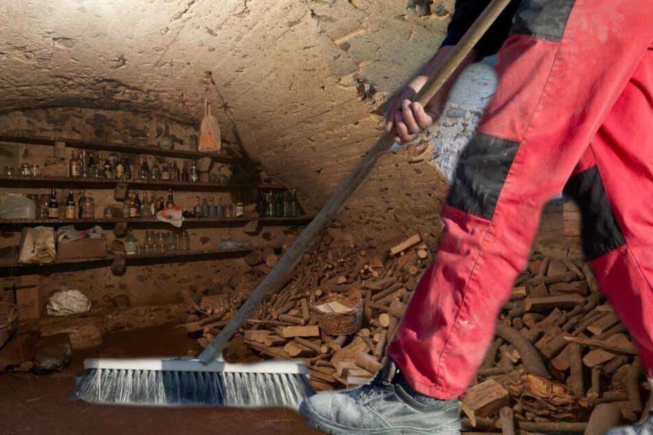 Arbeiter Entrumpeln Vermullten Keller Und Machen Grausamen Fund