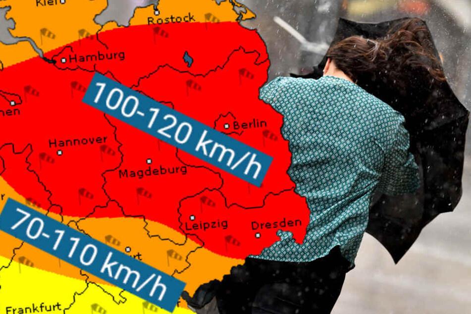 """Mit bis zu 110 km/h könnte """"Xavier"""" über Berlin und Brandenburg fegen."""