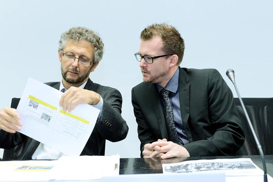 Beraten über die Zukunft des Radverkehrs in Dresden: Radfahr-Chefplaner  Johann Schmidt und Baubürgermeister Raoul Schmidt-Lamontain (Grüne).