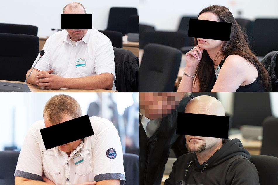 "Die ""zweite Reihe"" der Gruppe Freital (v.l.o.): Dirk A. (53), Stephanie T. (31), Sebastian S. (27) und Ferenc A. (31)."