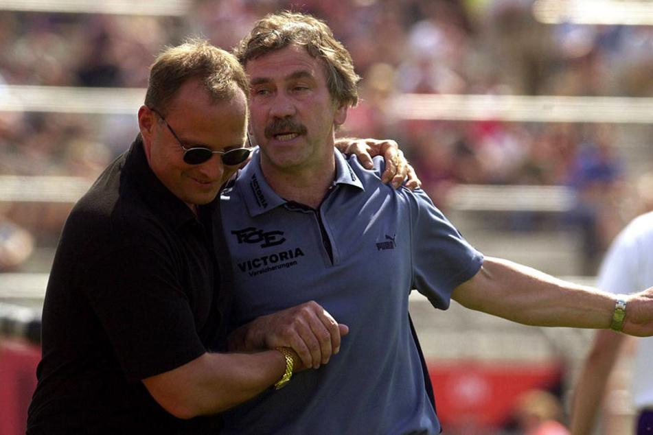 Uwe Leonhardt mit Erfolgstrainer Gerd Schädlich. Beide stiegen 2003 auf.