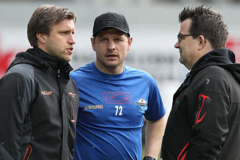 Markus Krösche (li.), Steffen Baumgart (mi.) und Martin Hornberger (re.) haben viele offene Fragen.