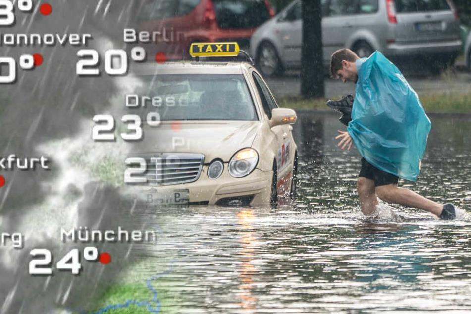 Ein Mann geht über die überflutete Tiergartenstraße in Berlin-Mitte. (Bildmontage)