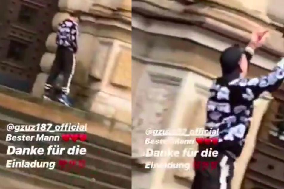 Gzuz pinkelt gegen das Strafjustizgebäude in Hamburg und zeigt danach beide Mittelfinger.