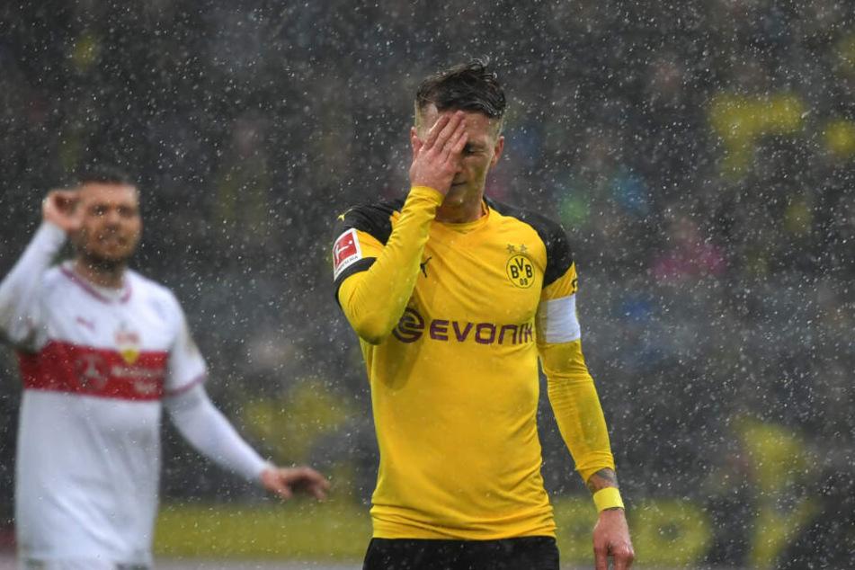 Im Regen stehend: VfB-Kämpfer Alexander Esswein (l.) und BVB-Star Marco Reus (r.).