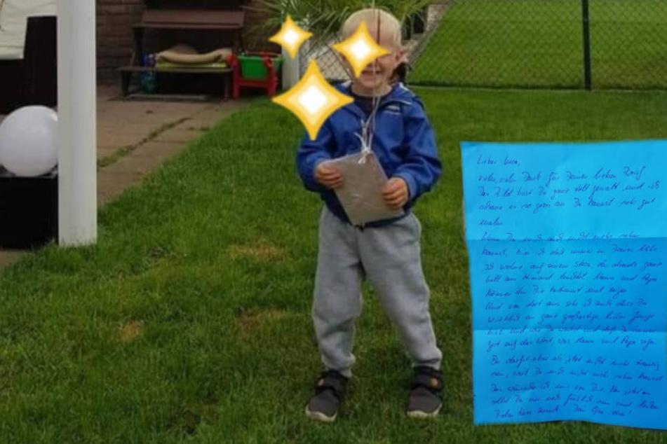 Luca freute sich sehr über die Botschaft von seinem Opa.