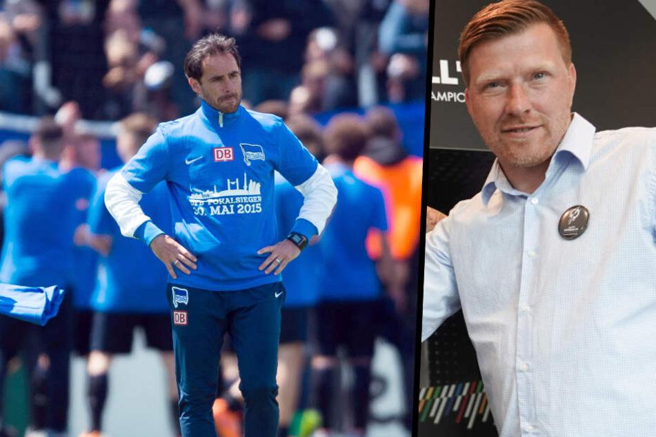 """Michael Hartmann (l.) und Andreas """"Zecke"""" Neuendorf (r.) werden bei den Fans als heiße Kandidaten auf die Dardai-Nachfolge gehandelt."""