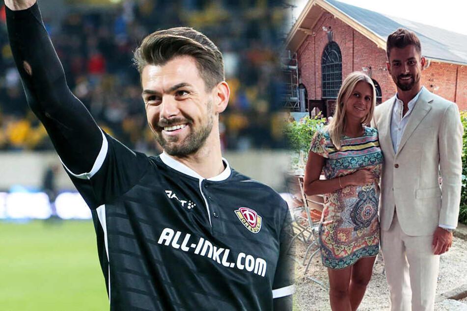 Patrick Wiegers und seine Ehefrau Stephanie werden bald Eltern! Für den Dynamo-Keeper ist es das erste Kind.
