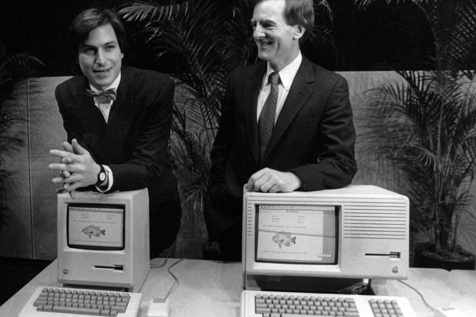 Steve Jobs mit dem damaligen Apple Präsidenten John Sculley 1984.