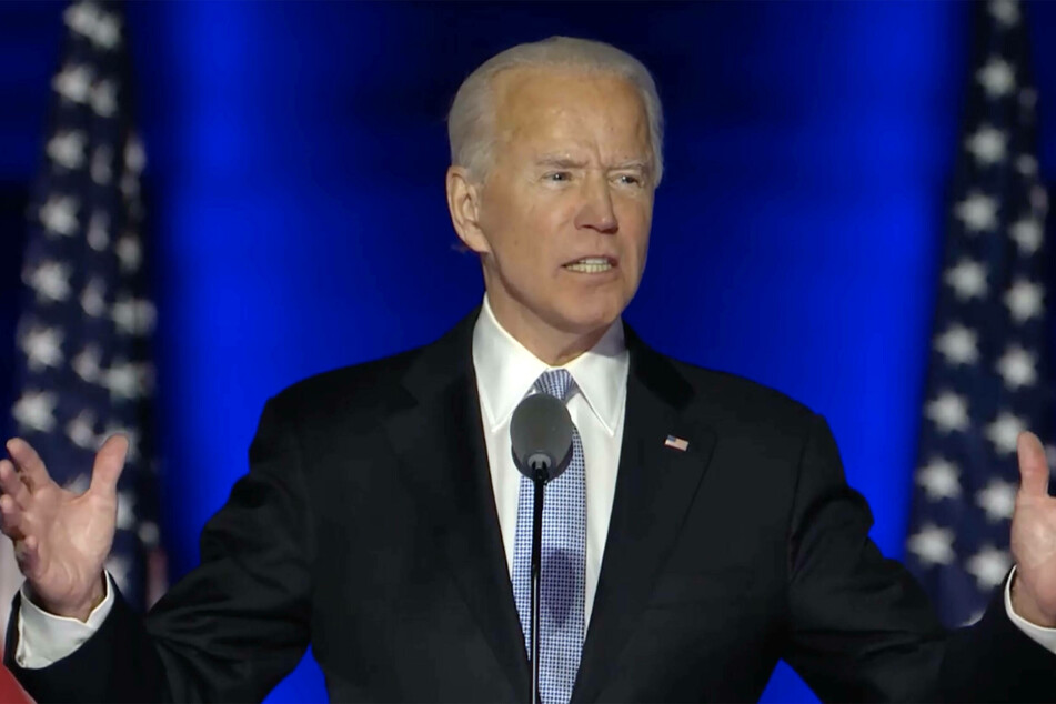 President-elect Joe Biden addressing supporters with a victory speech in Wilmington, Delaware.