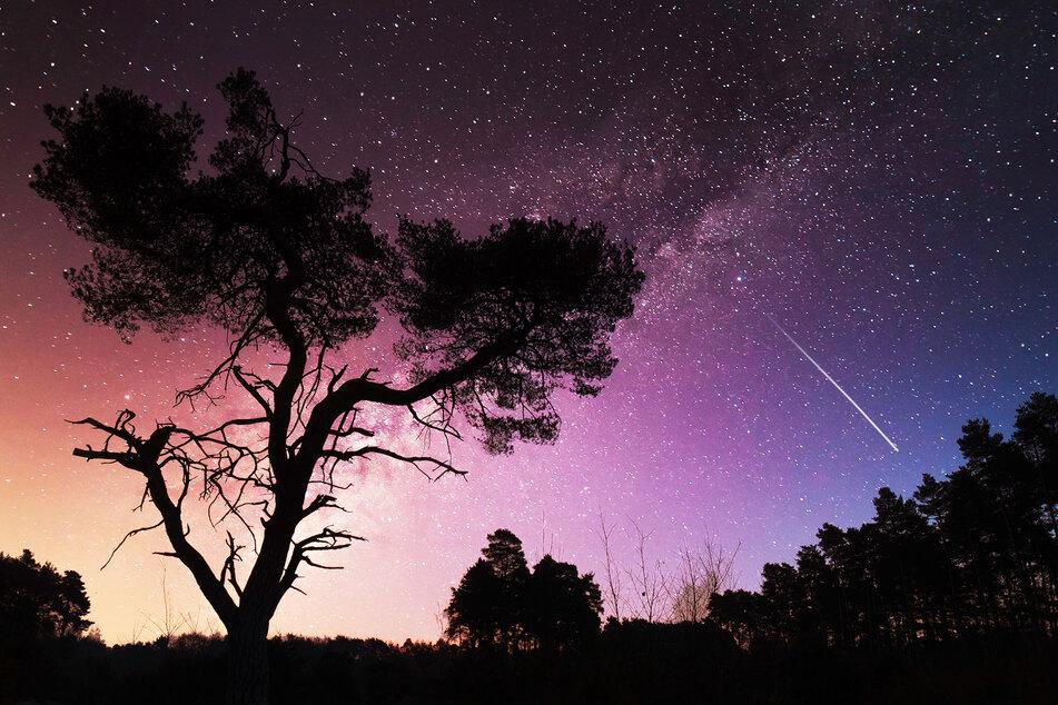 Eine Sternschnuppe verglüht in der Erdatmosphäre.