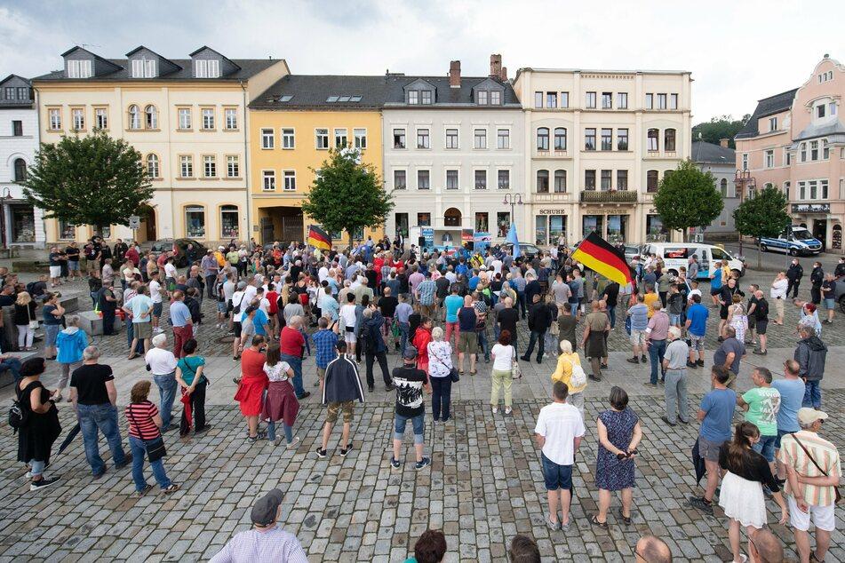 Die Kundgebung auf dem Sebnitzer Marktplatz.