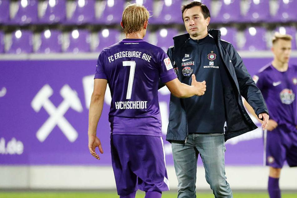 Hand rauf, heute wird es besser: FCE-Trainer Daniel Meyer (r.) und Jan Hochscheidt.