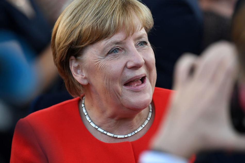 Bundeskanzlerin Angela Merkel trat in Brandenburg an der Havel auf dem Marktplatz auf.