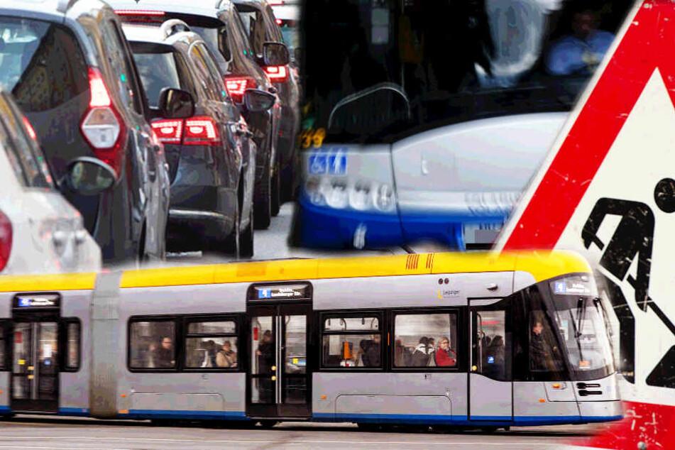 Baustelle im Leipziger Osten bringt Bus-, Bahn- und Autoverkehr durcheinander