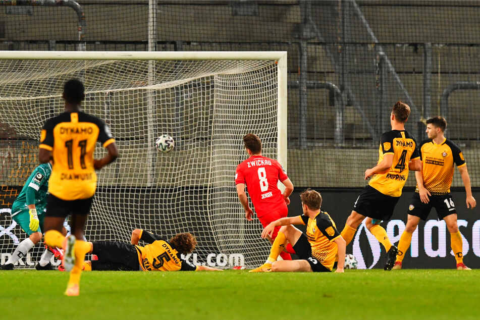 Sein einziges Tor in der laufenden Saison: Leon Jensen (23, M.) schoss den FSV Zwickau bei Dynamo Dresden mit seinem entscheidenden Treffer zum 2:1-Auswärtssieg.
