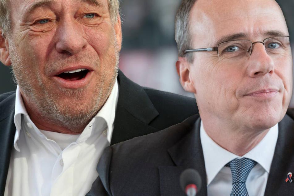 Fotomontage: Hessens Innenminister Peter Beuth (Re.) kritisierte einige Äußerungen von Eintracht-Präsident Peter Fischer aufs Schärfste.