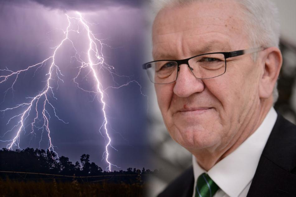 Zoff-Themen in der Regierung von Ministerpräsident Winfried Kretschmann gibt es derzeit genug. (Fotomontage)
