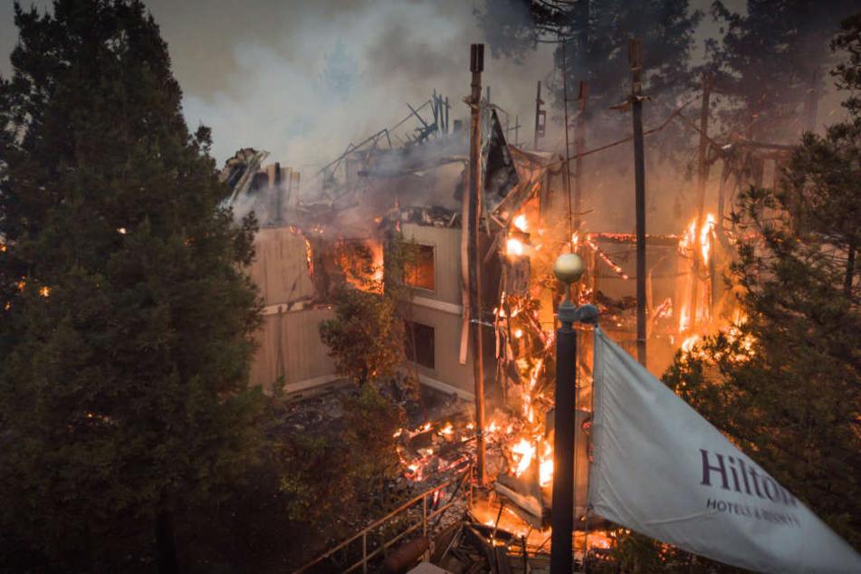 Das Hilton Hotel in Santa Rosa steht  nach einem großen Waldbrand in Flammen.