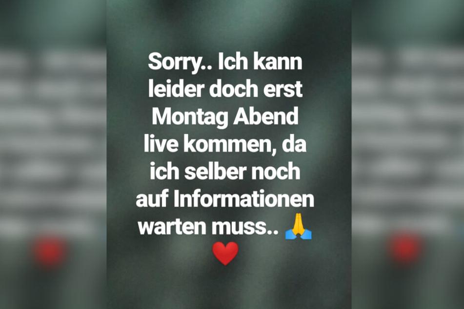 Diese Instagram-Story veröffentlichte Schwesta Ewa am Donnerstagabend.