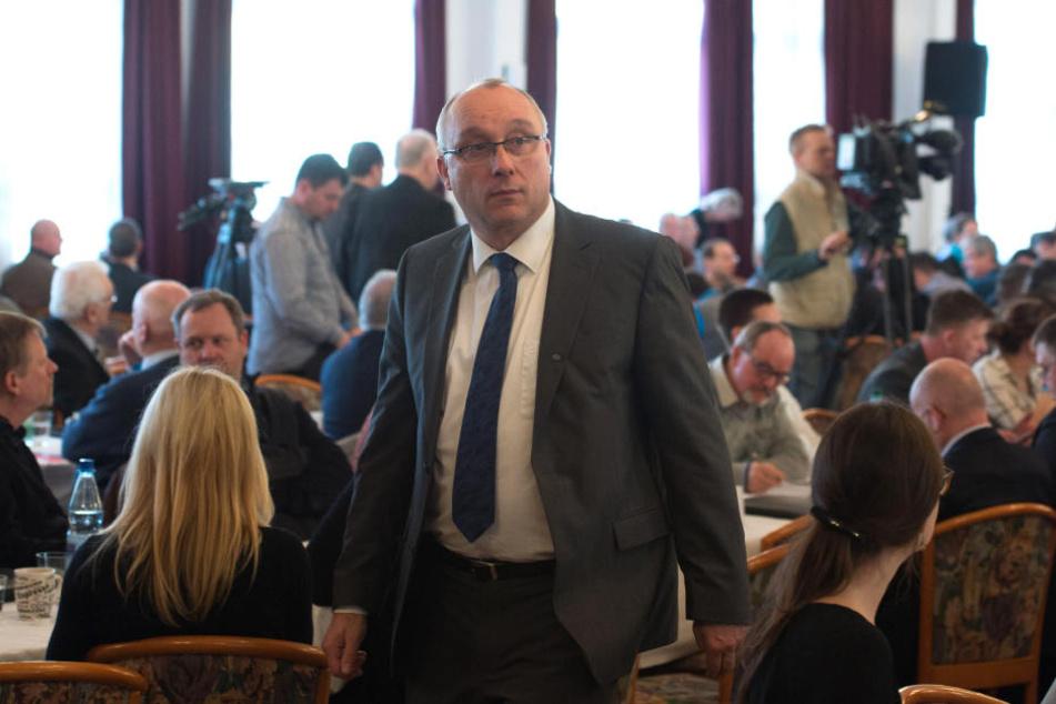 Jens Maier (54) beim Landesparteitag der AfD in Klipphausen.