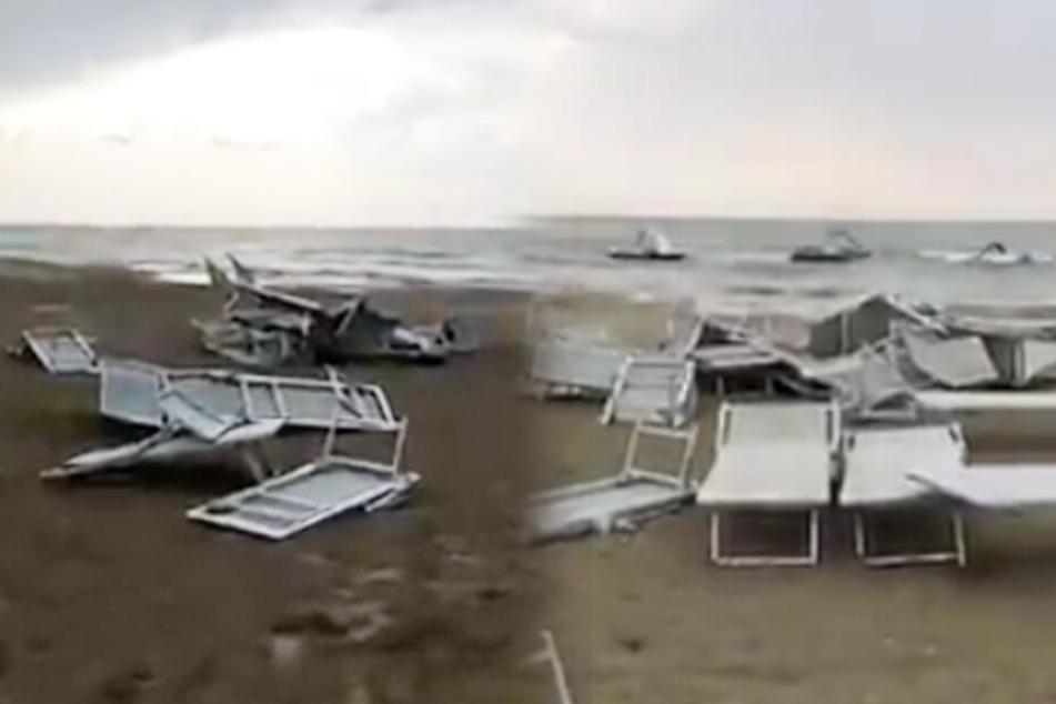Das Unwetter schlägt schon wieder zu! Strände der Adria-Küste heftig verwüstet