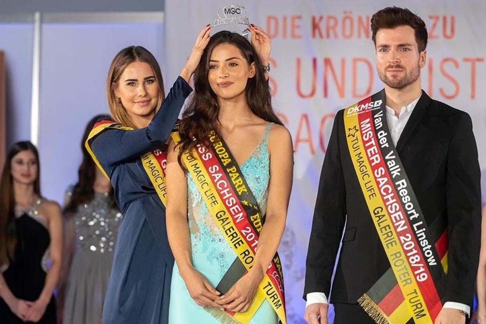 Zwei neue Sterne am Beauty-Himmel: Miss Sachsen Anastasia Aksah (21, Mitte) und Mister Sachsen Tobias Ritter (28). Die amtierende Miss Germany Anahita Rehbein (24) überreichte den Siegern die begehrte Schärpe.