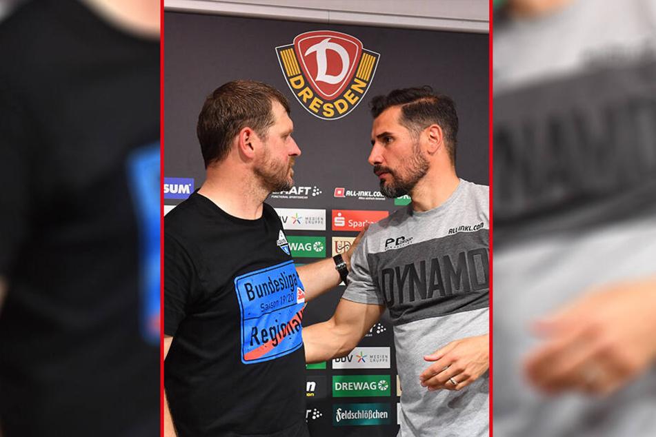 Cristian Fiel (r.) gratulierte seinem ehemaligen Union-Mitspieler Steffen Baumgart zum Aufstieg.