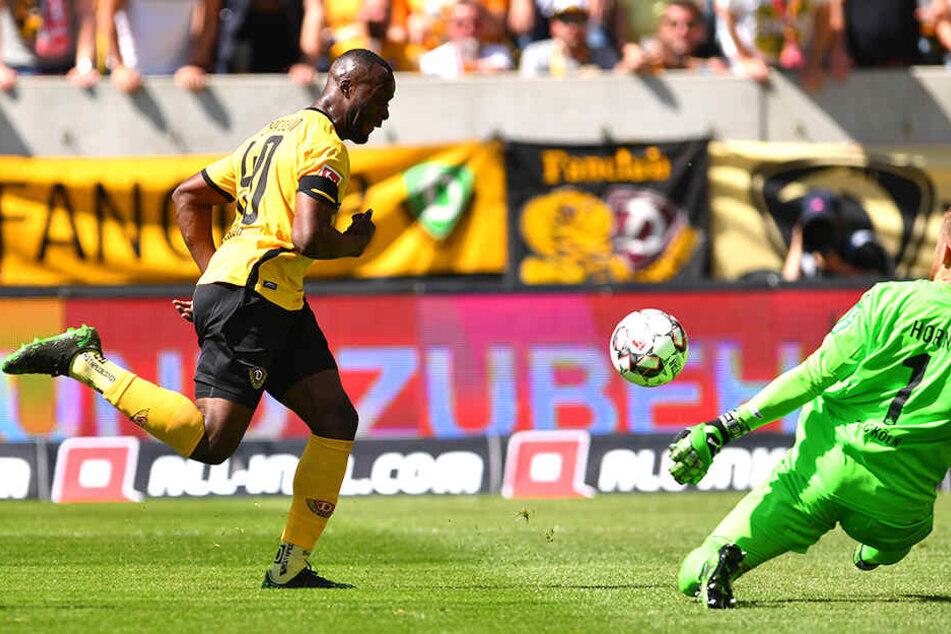 Das 1:0 für die SGD! Erich Berko lupft den Ball abgezockt über Köln-Keeper Timo Horn.