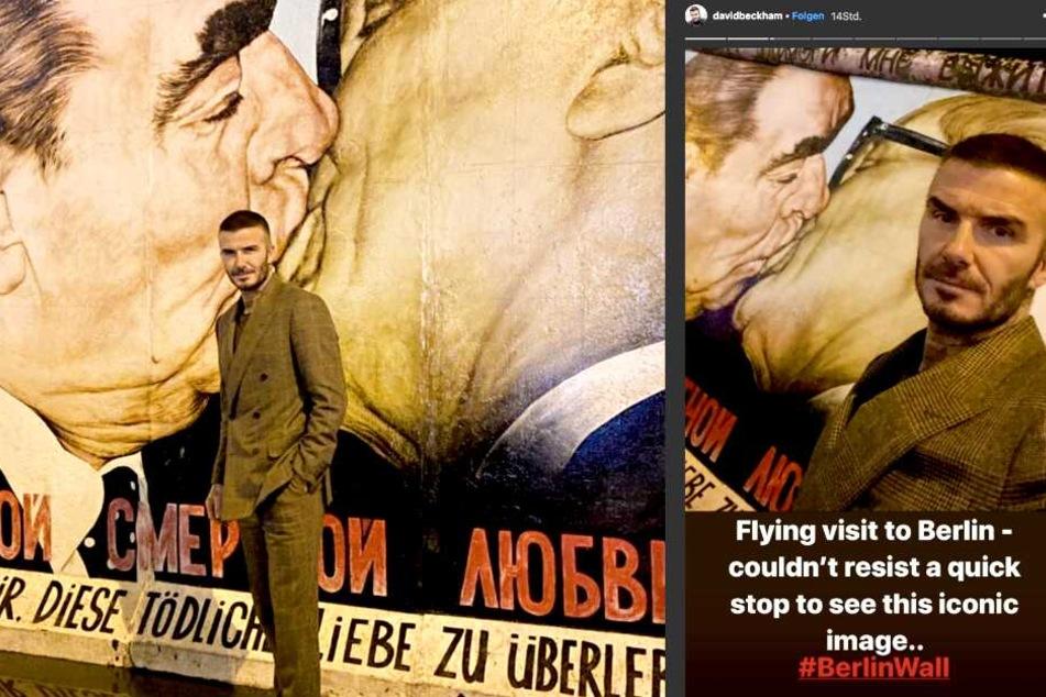 """Der Fußballstar ließ es sich nicht nehmen, vor dem berühmten """"Bruderkuss"""" an der East Side Gallery zu posieren."""