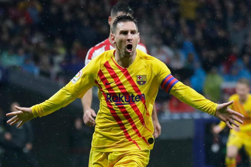 Nach seinem Siegtreffer am Wochenende gegen Athletico Madrid jubelt Lionel Messi.