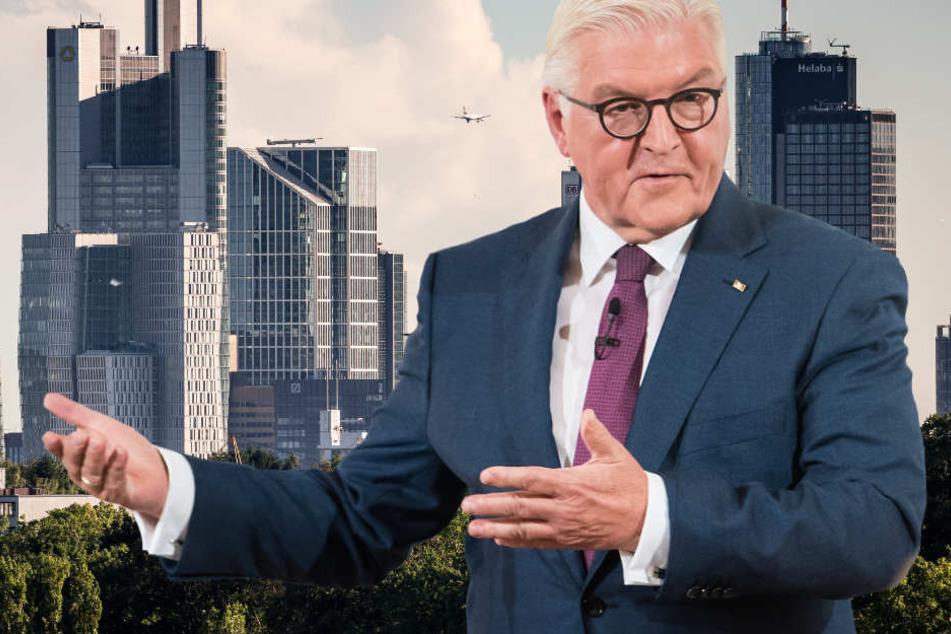 Bundespräsident Frank-Walter Steinmeier ist am Mittwoch in Frankfurt zu Gast (Fotomontage).