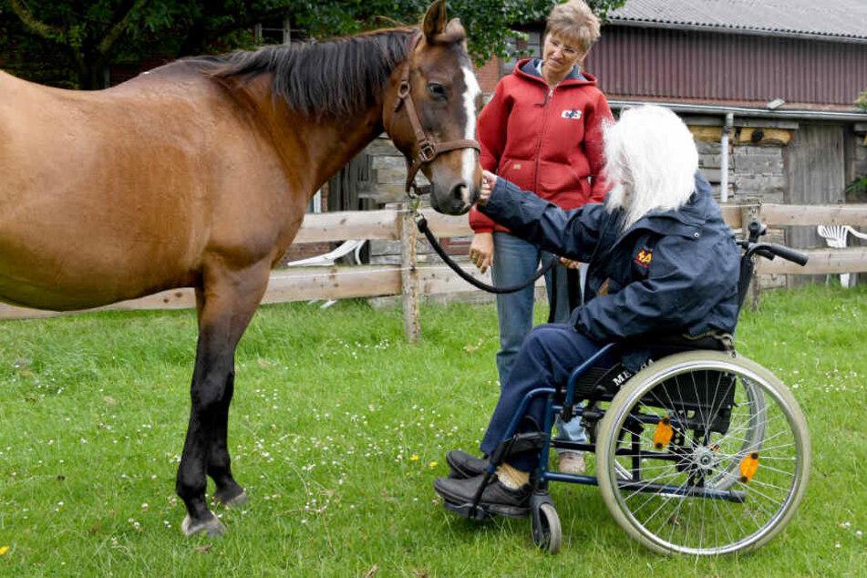 """Ute Abraham, Betreiberin der """"Sunny-Ranch"""", erfüllt dem 82 Jahre alte Edzard Riek einen Herzenswunsch mit dem Besuch auf dem Pferdehof."""
